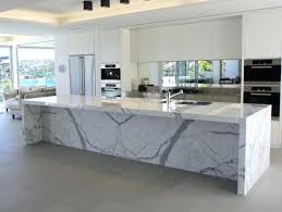 kitchen ideas marble waterfall island white faucet edge countertop laminate detail diy kitchen trends waterfall edge counter tops