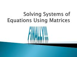 ppt solving systems of equations