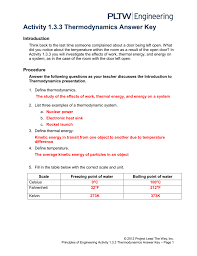 Introduction To Engineering Design Study Guide Activity 1 3 3 Thermodynamics Answer Key
