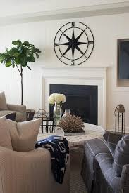 wrought iron compass decor over fireplace mantel