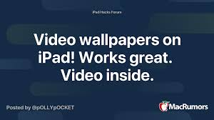 Here's how to change your wallpaper on iphone and ipad. Video Wallpapers On Ipad Works Great Video Inside Macrumors Forums
