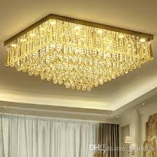 dimmable led chandeliers ceiling light led rectangle european modern romantic crystal ceiling lights for living room villa hotel decoration ceiling