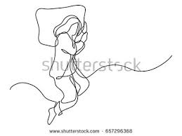 pillow line drawing. woman sleeping on pillow - single line drawing
