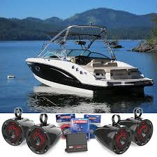 pair dual polk audio 6 5 1200 watt marine boat wakeboard tower 4 mtx 6 5 marine wakeboard tower speakers led s 2 channel