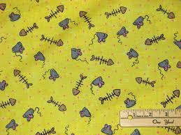 CAT NAP'N Mouse & Fish Bones Yellow Cotton Quilting Fabric eBay ... & CAT NAP'N Mouse & Fish Bones Yellow Cotton Quilting Fabric eBay Adamdwight.com