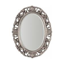large oval silver ornate wall mirror