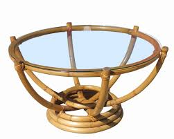 Floating Coffee Table Restored Six Pole Rattan Coffee Table With Floating Glass Top For