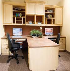 two desk home office.  Two Traditional Maple Peninsula Office To Two Desk Home