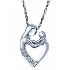 diamond mother child heart pendant