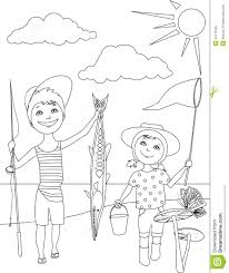 Small Picture Summer Activities For Kids Coloring Page Stock Vector Image