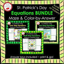 st patrick s day tribal shamrock math then graph solve 2 step equations