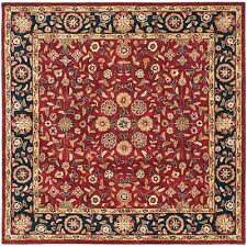 safavieh heritage 8 square hand tufted wool rug in red and navy