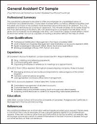 Curriculum Vitae Samples General Assistant Cv Sample Myperfectcv