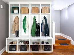 Mudroom Cubbies Plans Modern Minimalist Mudroom Cubby Design Made From Wood Painted With