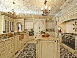 cabinet in kitchen design. White Kitchen With The Distressed Look Made Even More Interesting A Large Zebra-patterned Cabinet In Design