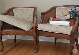 two velvet chair cushions before