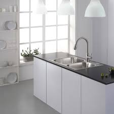 kitchen table top. Wonderful Top Stainless Steel Top Mount Farmhouse Kitchen Sink On Black Marble Countertop  Table With White Interior Furniture Decoration Ideas Inside