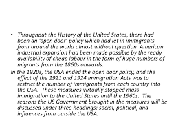 throughout the history of the united states there had been an open door