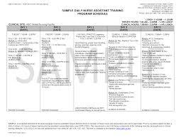 Training Programme Schedule Format Daily Nurse Assistant Training Program Schedule Templates