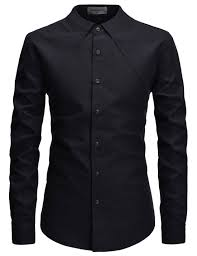 Black Designer Dress Shirt Black Non Collar Designer Long Sleeved Casual Dress Shirts