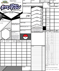 pokemon tabletop character sheet pokemon tabletop rpg now available for public beta sofurry