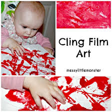 cling film canvas wall art no mess painting for on toddler canvas wall art with no mess cling film art messy little monster