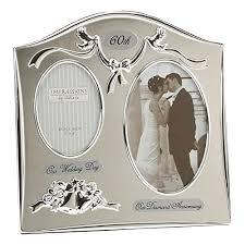 two tone silverplated wedding anniversary gift photo frame 60th diamond anniversary