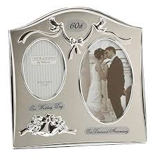 two tone silverplated wedding anniversary gift photo frame 60th diamond anniversary