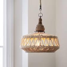rope wood boho pendant chandelier