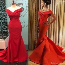 Js Designs Dresses 2019 New Red Off The Shoulder Ruched Design Evening Dresses Mermaid Ruffle Skirt Zipper Back Prom Gowns Vestidos De Fiesta Js Boutique Evening Dresses