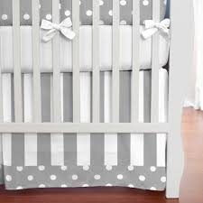gray and white dots and stripes 2 piece crib bedding set