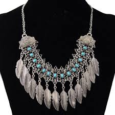 women gypsy necklace jewelry bohemian antique silver leaf pendant necklace turkish indian ethnic collar festival party jewelry pendant necklaces