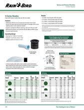 Rain Bird Spray Nozzle Flow Chart U Series Nozzles