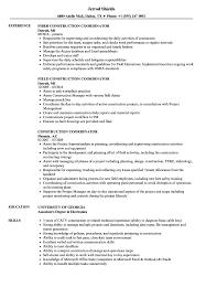 Construction Coordinator Resume Samples Velvet Jobs