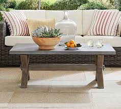 Pair of contemporary round coffeetables with aged oak top for sale, source: Extra Large Square Coffee Table Pottery Barn