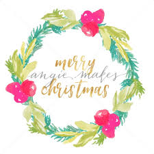 Calligraphy Backgrounds Merry Christmas Calligraphy Background With Winter Wreath