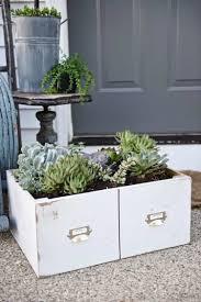 diy succulent planters card catalog drawer
