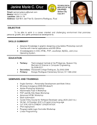 Example Of Resume Generous Resume Sample Objective For Ojt Gallery Entry Level 15