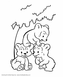 Wild Animal Coloring Pages Bear Cubs Playing Coloring Page And