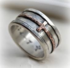 mens cross wedding band rustic hammered cross ring oxidized fine silver sterling copper ring handmade wedding band