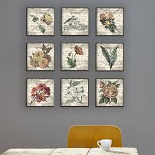 french botanical illustrations 9 piece canvas wall art set  on set of three framed wall art with one allium way french botanical illustrations 9 piece canvas wall