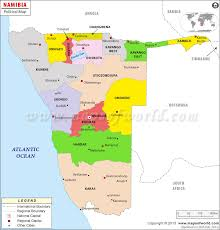 Namibia Distance Chart Political Map Of Namibia Namibia Regions Map