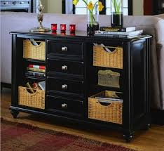 Nice Wicker Baskets And Best Black Console Table With Storage For