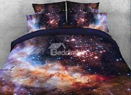 onlwe 3d galaxy and galactic nebula printed cotton 4 piece bedding sets duvet covers