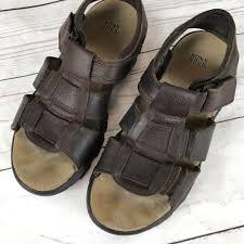 details about nunn bush men s size 10m brown leather sandal open toe fisherman casual