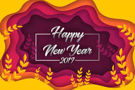 Happy new year 2019 colorful paper cut greeting card background ...