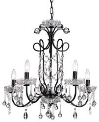 5 light crystal chandelier black