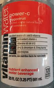 Vitamin Water Nutrition Chart