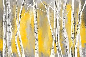 yellow painting yellow and gray birch trees by lourry legarde
