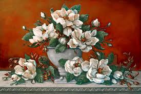 janet kruskamp s paintings classical magnolia ii a beautiful painting of a side table arrangement